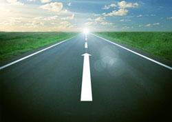 先の見えない道路